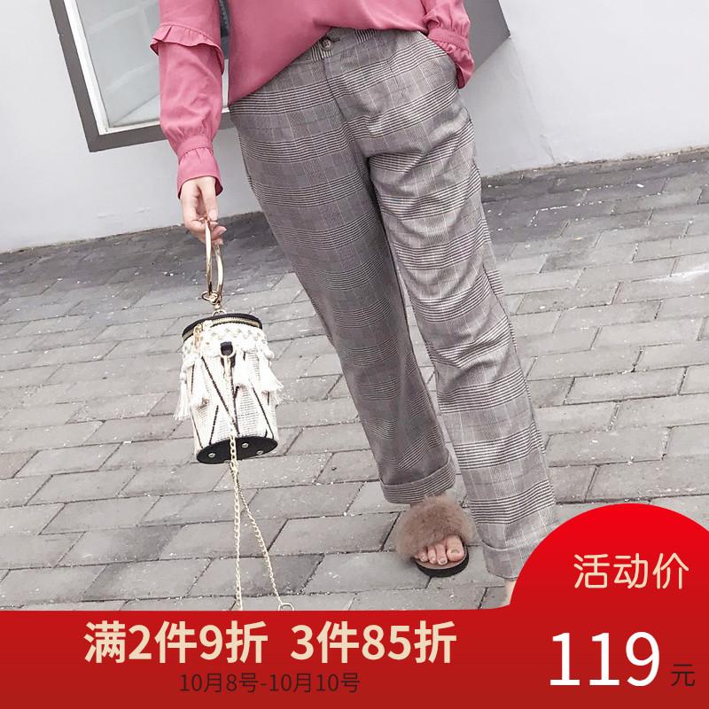 采多宝大码女装2018胖妹妹秋装修身九分裤格子休闲裤女200斤K0055