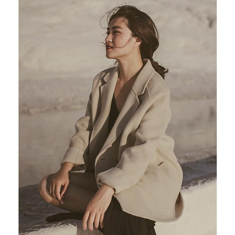 2018秋冬新款矮个子宽松显瘦羊毛双面呢大衣小个子韩版短款外套女