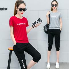 大码运动服套装女胖MM2019新款夏季潮时尚学生宽松短袖休闲两件套