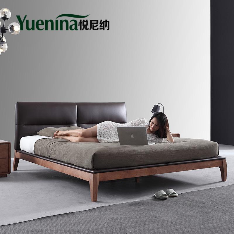 悦尼纳 北欧实木床 现代简约双人床1.51.8米全实木软包套装主卧床