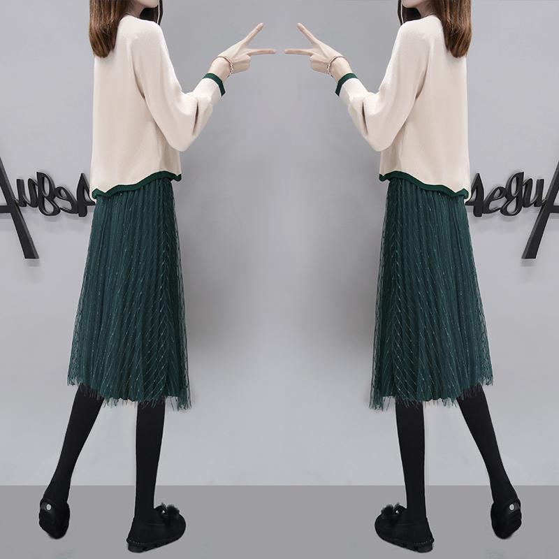 毛线裙套装2018秋冬新款初秋毛衣裙子两件套秋装打底连衣裙女冬