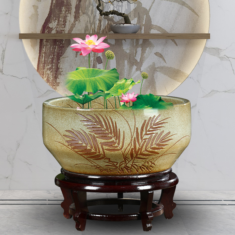 Jingdezhen ceramic aquarium fish basin to small desktop ceramic waist drum fish tank water lily hand - made goldfish turtle cylinder