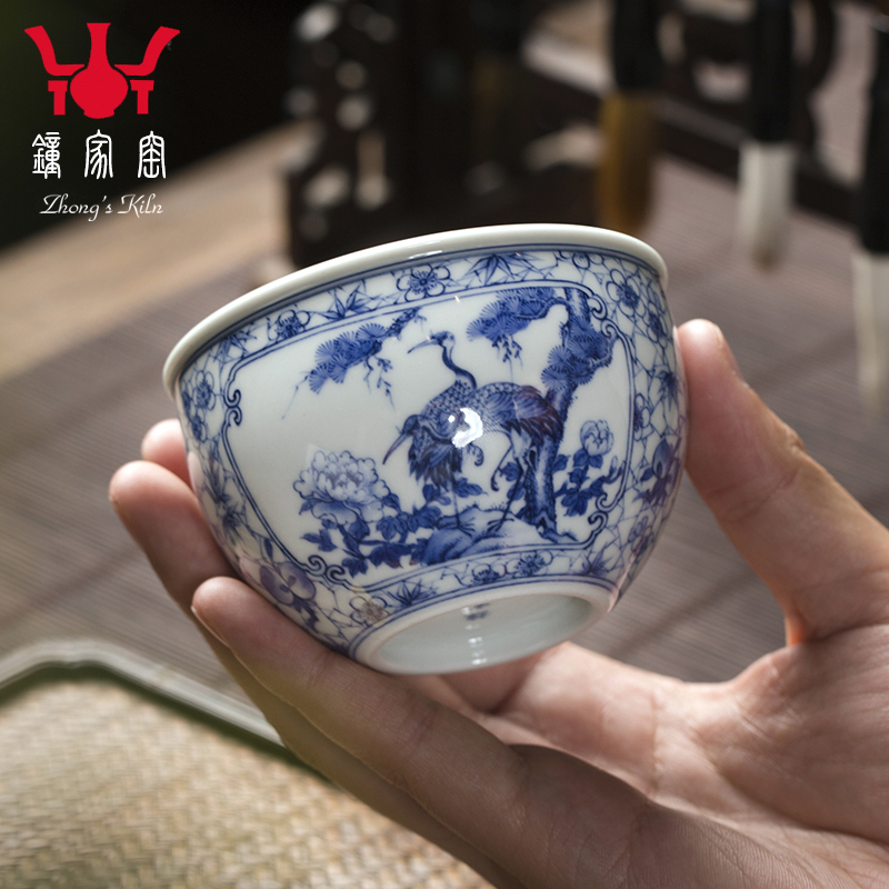 Clock home up with jingdezhen ceramic cups maintain full working ice may open a window cranes peony cylinder cup master cup single CPU
