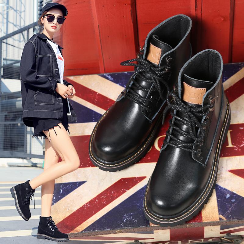 2018新款秋季马丁靴短靴英伦风冬季女靴子韩版百搭大码女鞋41-43