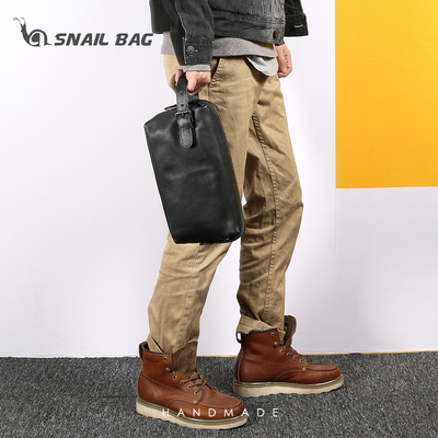 Hand bag men's leather hand bag first layer leather simple casual trend large capacity hand bag fashion hand bag