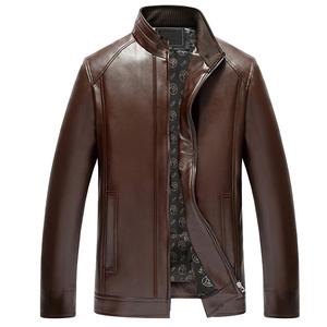 秋冬中年男士皮夹克爸爸装加绒中老年人皮衣外套老人男装PU皮外套