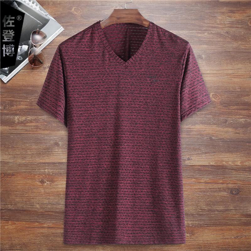 夏季薄款V领短袖T恤男胖哥大码汗衫加肥加大肥佬宽松体恤网眼透气