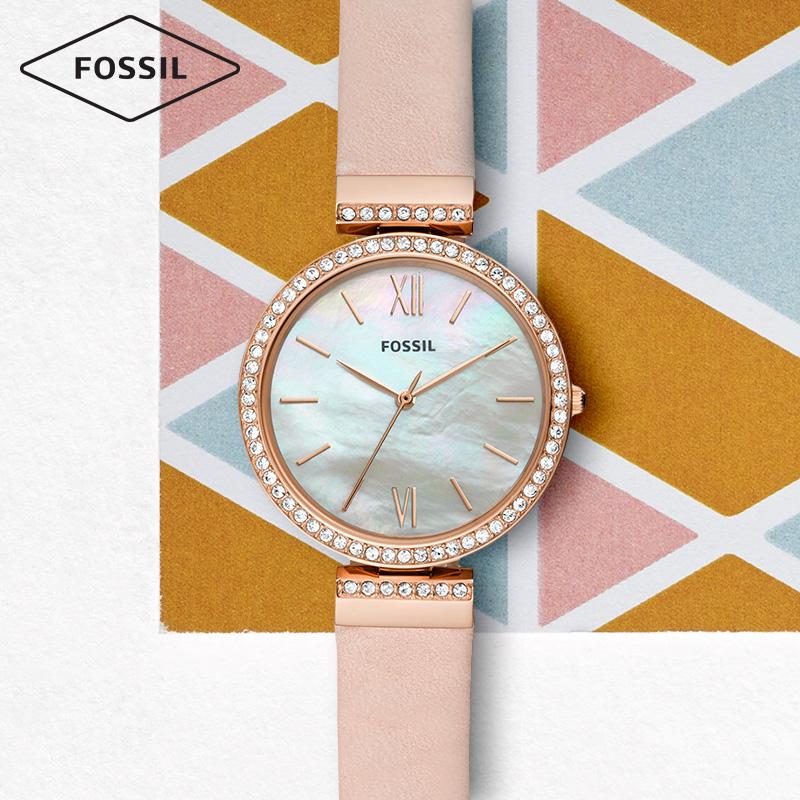 Fossil2019春夏新款简约文艺时尚贝母表盘皮表带石英女表ES4537