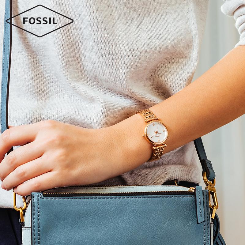Fossil女表明星杨紫同款简约贝母纤薄表盘钢带石英手表女ES4433