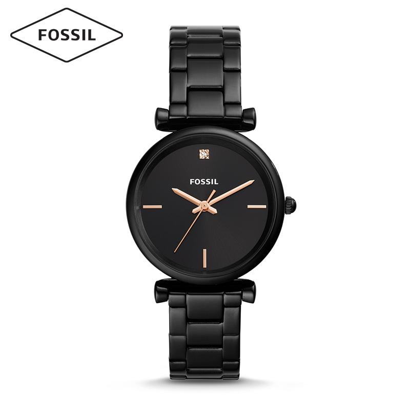 Fossil2019年春夏新品复古摩登简约黑色钢表带石英女表ES4442