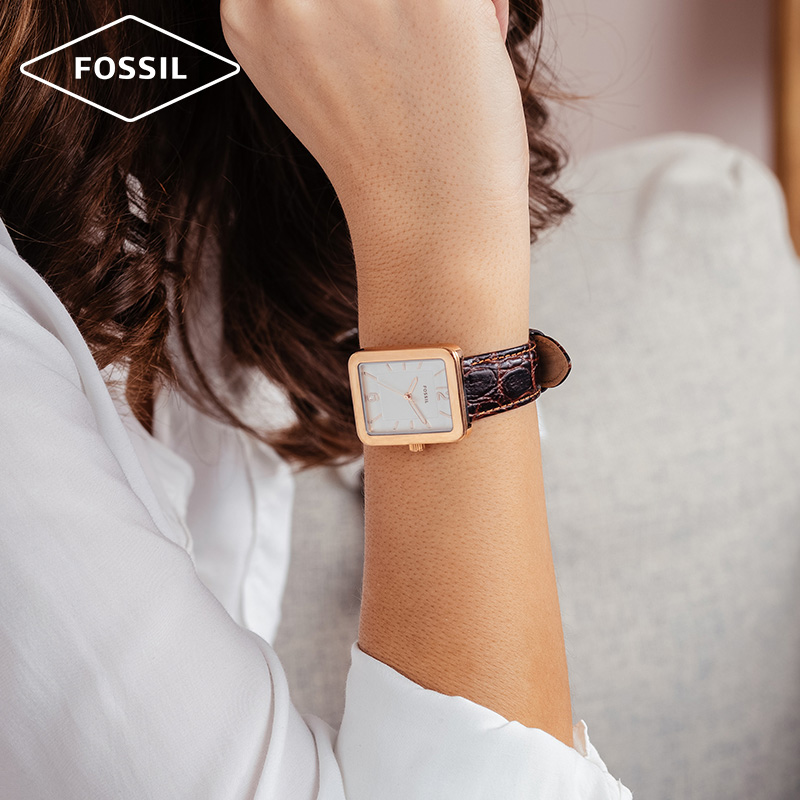 Fossil天猫定制新款手表女小方表盘鳄鱼纹牛皮表带石英女表ES4598