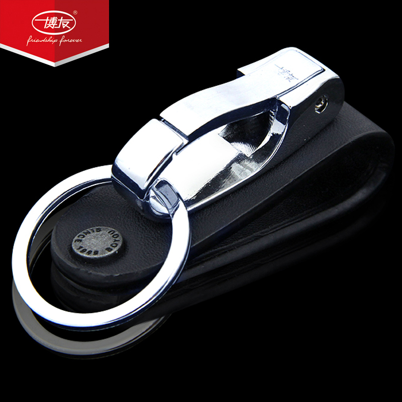 Bo Yo wear belt metal keychain men's leather waist hanging creative car key ring stainless steel pendant
