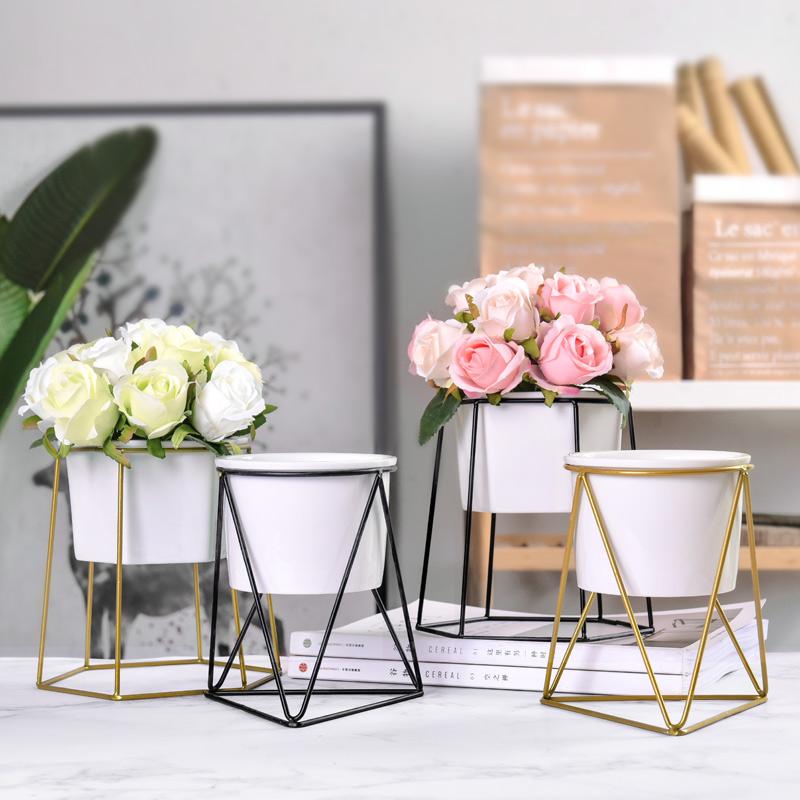 简约现代仿真花套装北欧风金色铁艺花瓶花架家居样板间装饰摆件