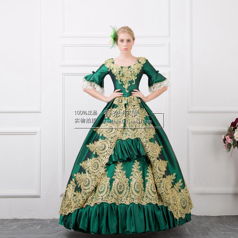 欧式宫廷演出服舞蹈装表演服化妆晚会服装女士装绣花