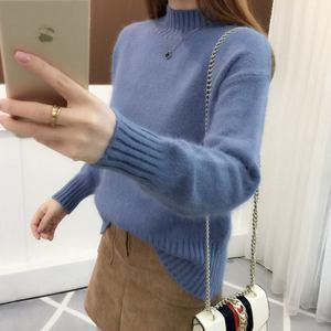 好质量毛衣女秋冬天短款韩版宽松套头纯色半高领针织百搭打底衫
