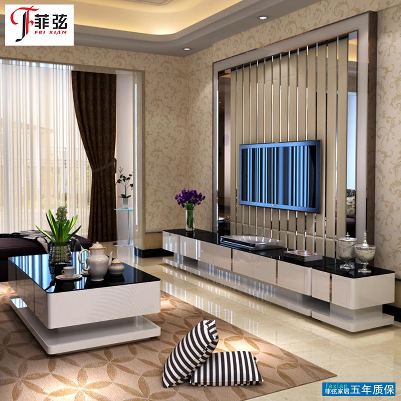 菲弦现代简约电视柜茶几组合简易钢化玻璃电视机柜桌客厅家具套装