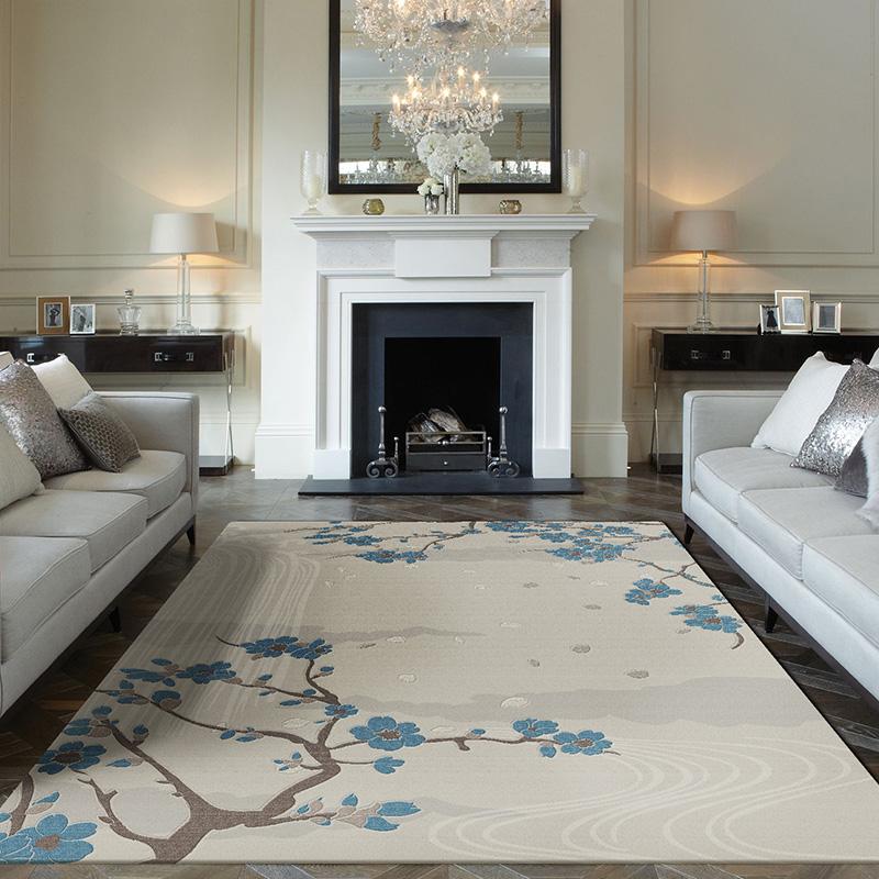 卧室客厅床边茶几新中式现代简约原创设计满铺圆形羊毛地毯