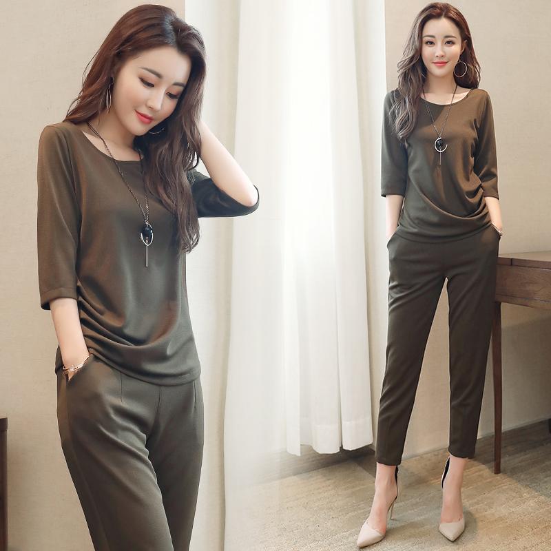 40岁中年女装妈妈装夏装时髦时尚休闲套装大码韩版阔腿裤两件套女