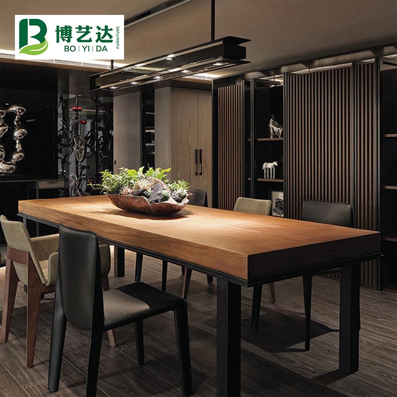 复古大户型餐桌家用实木10人桌长方形桌子工业风酒吧多人桌椅组合
