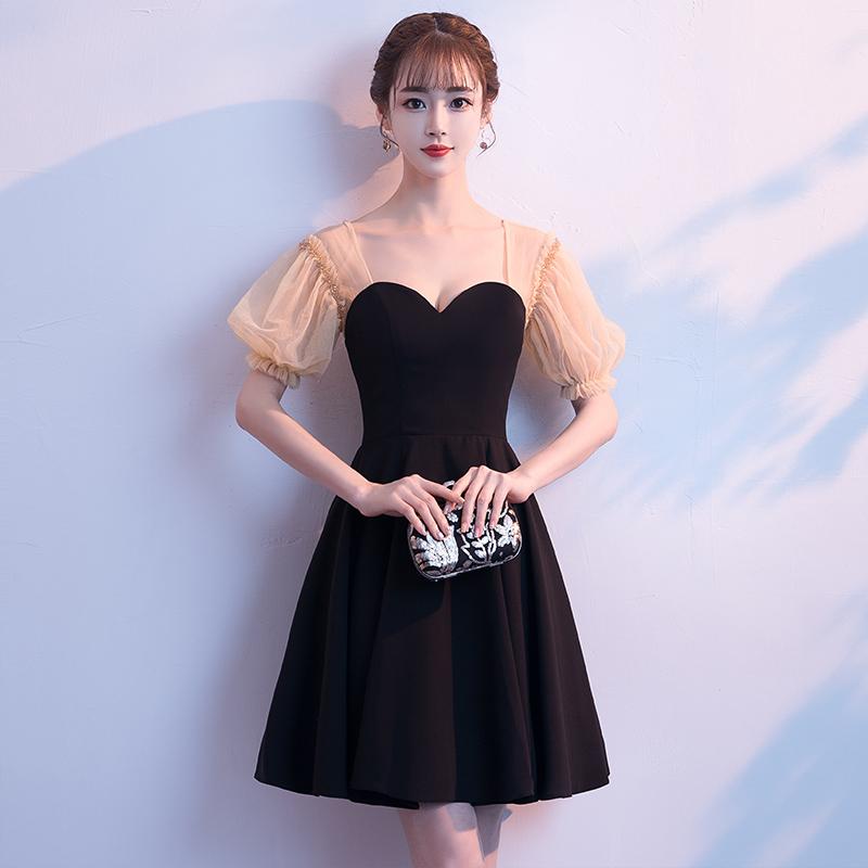 主持人礼服女2018新款黑色洋装小礼服短款名媛聚会宴会派对连衣裙