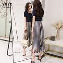 时尚套装女2018夏季新款气质大码显瘦薄条纹阔腿裤九分裤两件套潮