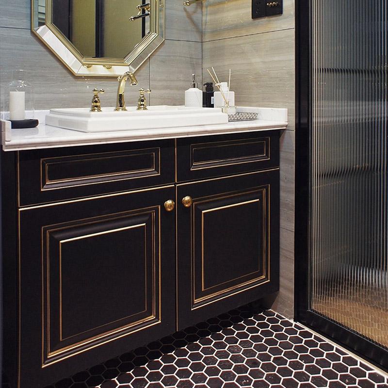 好好住轻奢黑色浴室柜组合北欧实木洗脸盆柜洗漱台现代简约卫生间
