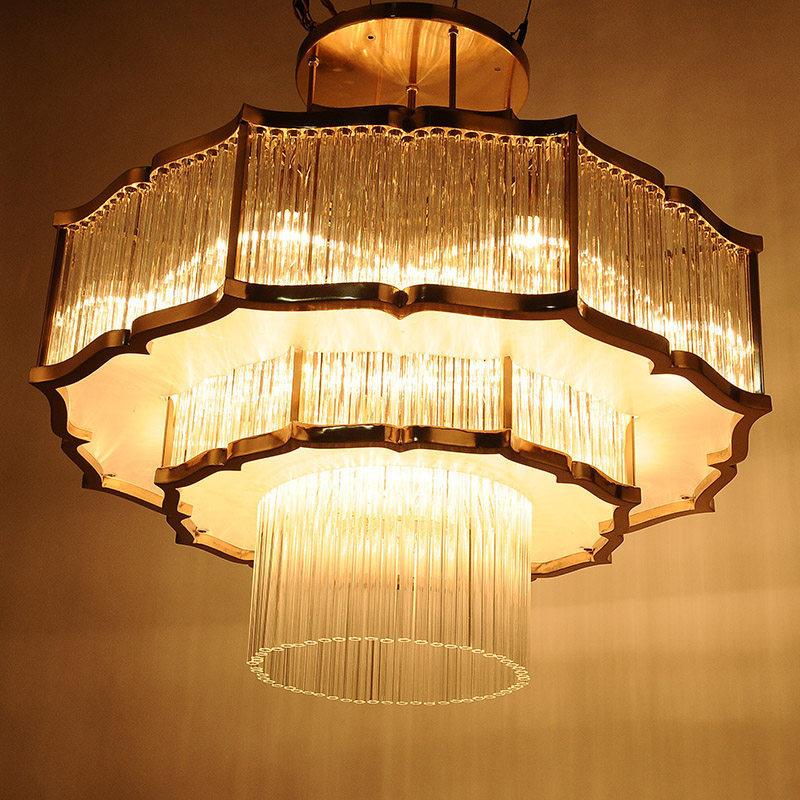 新中式吊灯客厅餐厅卧室书房简约大气艺术吊灯铁艺莲花中式水晶灯
