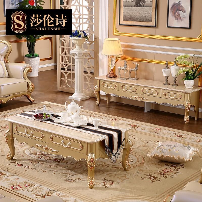 莎伦诗 欧式大理石电视柜四抽茶几组合套餐简欧高档香槟金客厅