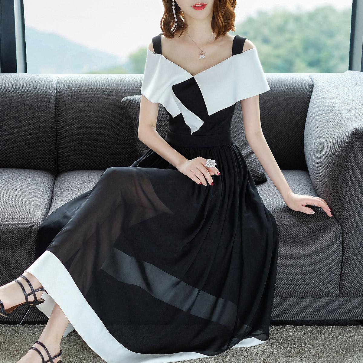 衣千亿夏季2018新款女装撞色连衣裙一字领拼网纱气质显瘦大摆长裙
