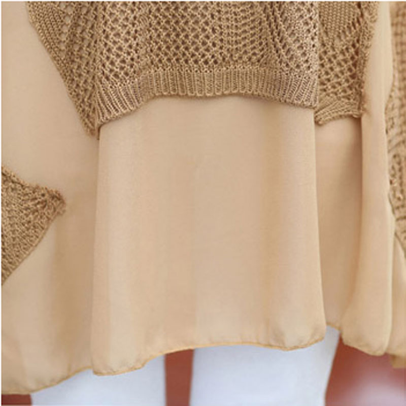 Spring and summer Chiffon splicing code in the long section of loose knit shirt collar Korean false two shirt female
