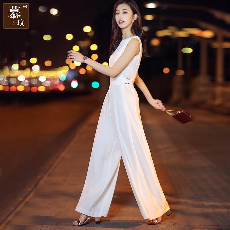 白色阔腿裤夏装2018夏季无袖连体裤高腰裤显瘦雪纺长裤连体裤女