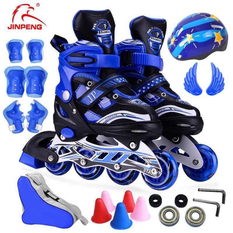 3-5-7-8-12岁男童女童儿童溜冰鞋全套小孩汗旱冰鞋轮滑鞋可调全闪