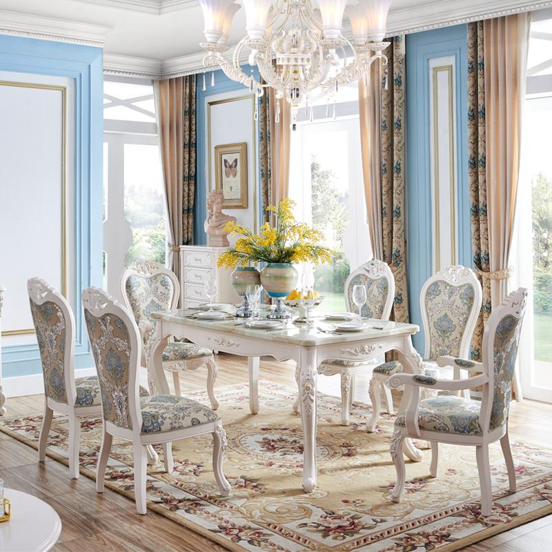 欧爵蒂曼 法式大理石餐桌 欧式实木餐桌 长方形饭桌 餐桌椅组合