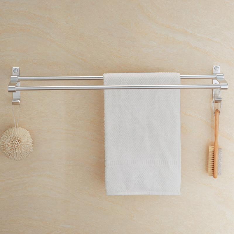 kelaien太空铝毛巾杆双杆卫浴五金挂件卫生间浴室壁挂加长毛巾架