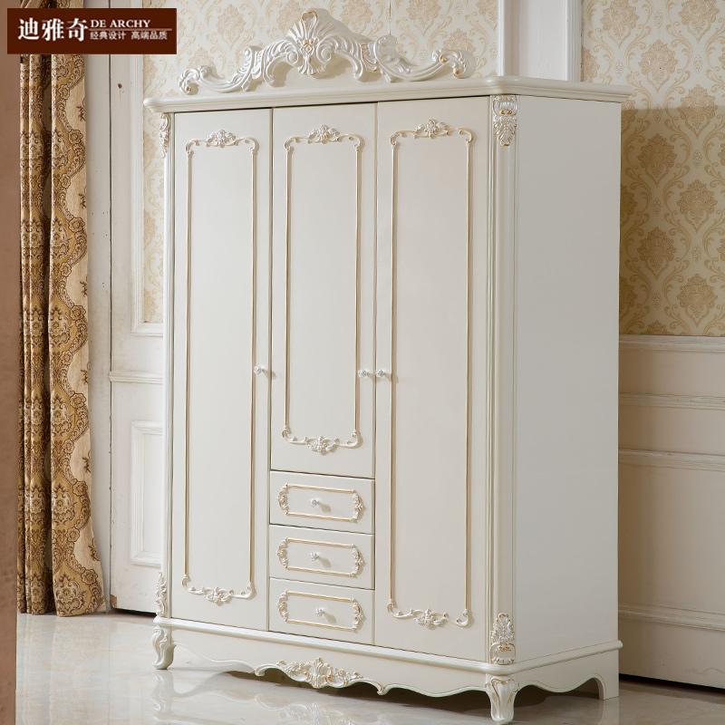 欧式衣柜高档雕花实木3门4门白色卧室柜子田园三门四门推拉门衣橱
