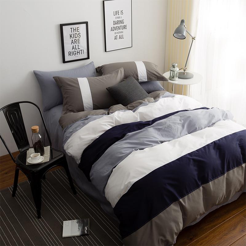 现代简约全棉被套双人四件套纯棉男三件套床单床笠款床上用品1.8m
