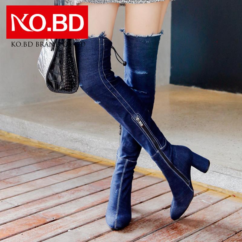 柯百蒂牛仔布高跟显瘦弹力靴秋冬新款过膝长靴粗跟长筒女靴子K684