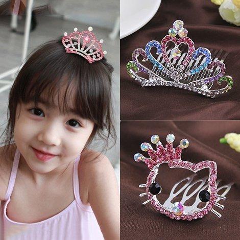 韩国儿童发饰头饰品女童可爱王冠公主小女孩水钻皇冠发夹宝宝发梳