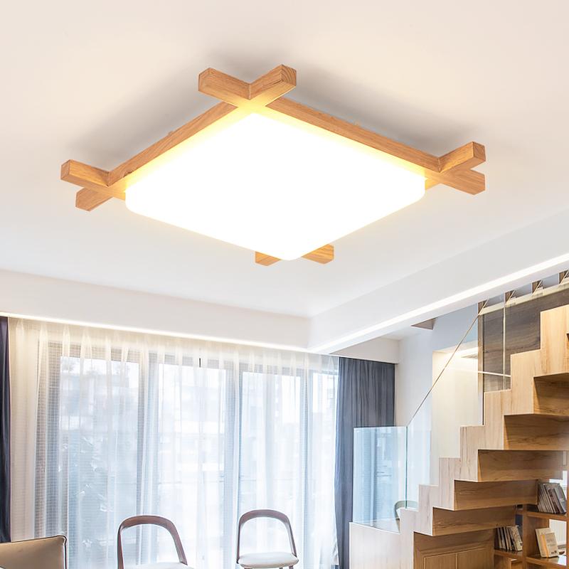 日式榻榻米灯北欧原木灯具温馨创意书房过道走廊卧室吸顶灯