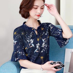 雪纺衫女装夏装2018新款潮短袖韩版百搭超仙甜美气质上衣碎花衬衫