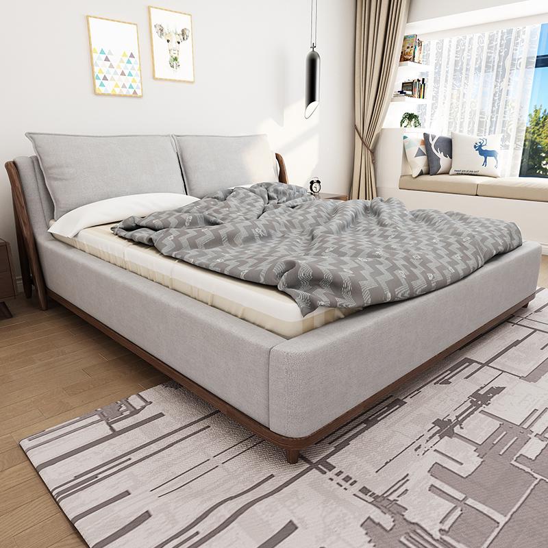 梦尚佳简约现代布床1.8米双人床拆洗软体床实木布艺床榻榻米婚床