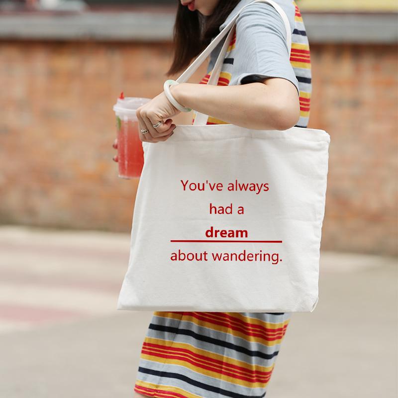 帆布包女单肩韩版原宿ulzzang简约文艺小清新学生手提帆布购物袋
