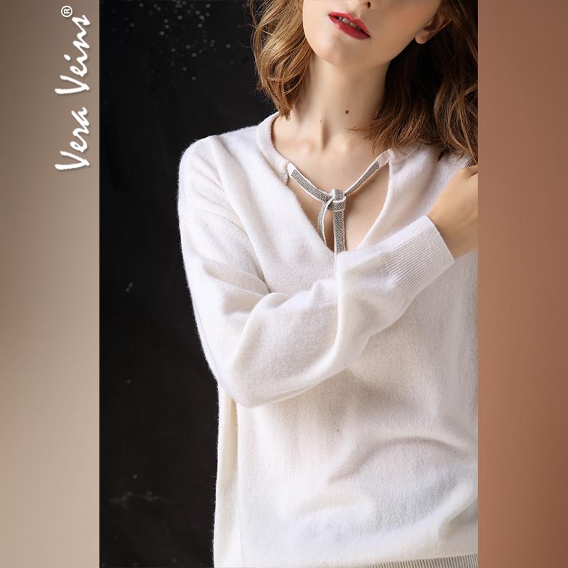 2018秋冬季新款女装慵懒风长袖打底衫挂脖V领羊绒针织宽松毛衣