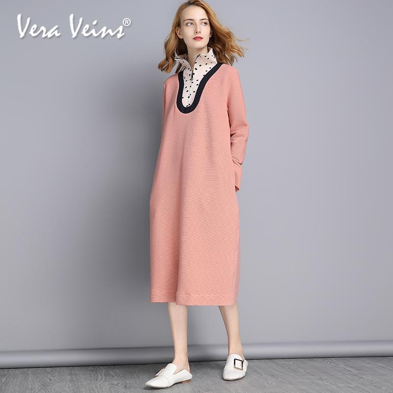 2018秋季新款女装高领拉链长袖假两件波点拼接中长款a字连衣裙