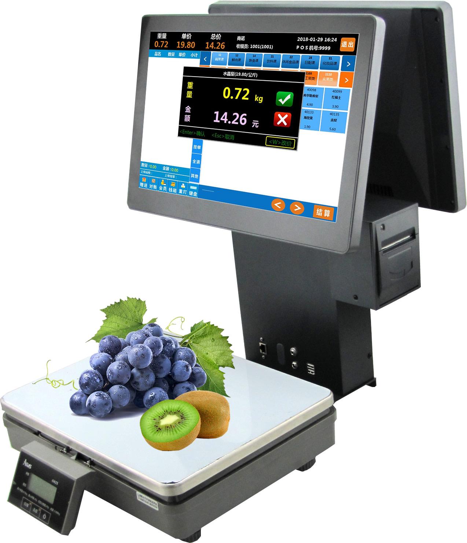 称重一体收银机 触摸屏收款机 水果干货熟食收银秤PC秤 电容双屏