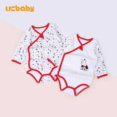 Ucbaby New Year's Red Baby Bottom-padded Dog Year Cotton Spring and Autumn Newborn Baby Belly-Protecting Triangle Happy Clothes