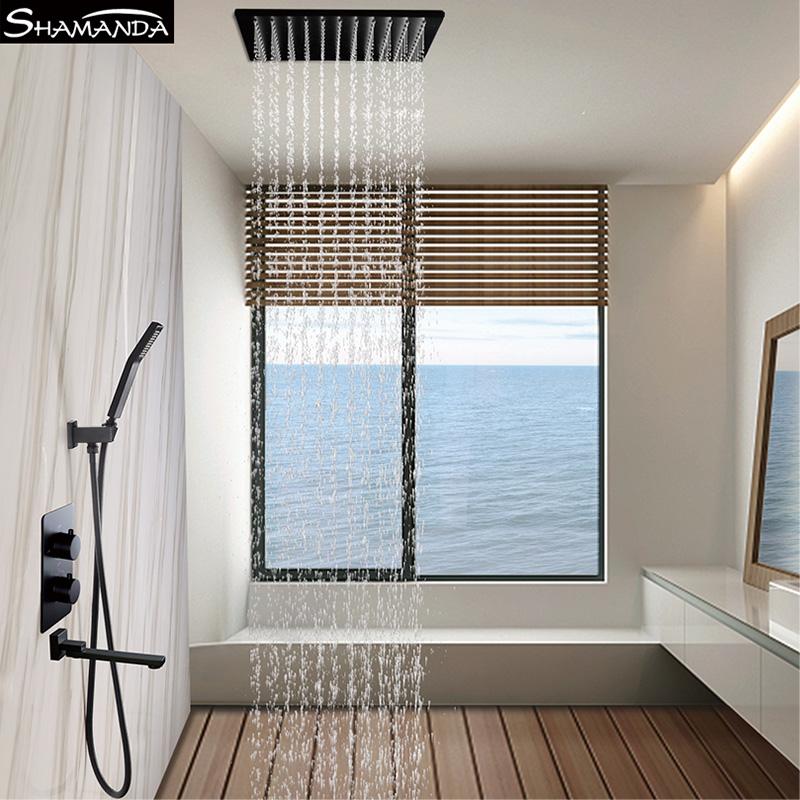 全铜黑色智能恒温暗装花洒入墙式淋浴酒店吸顶吊顶嵌入式洗浴套装