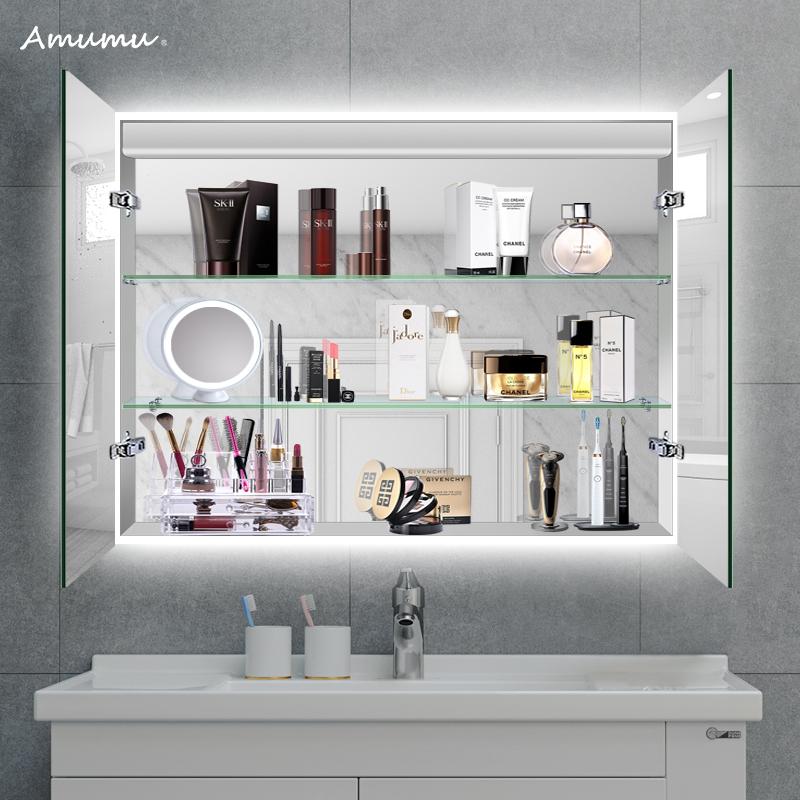 四周灯光超大镜柜铝合金镜柜卫浴镜柜镜柜灯一体卫生间镜柜可定制