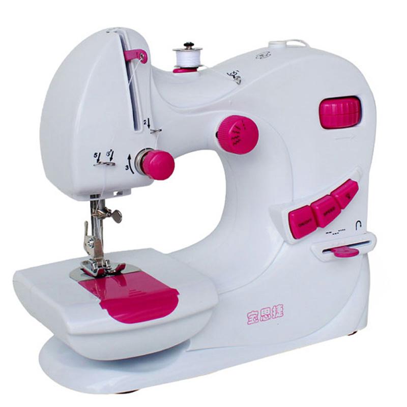 宝思捷缝纫机家用电动迷你小型缝纫机台式多功能缝纫机带锁边衣车