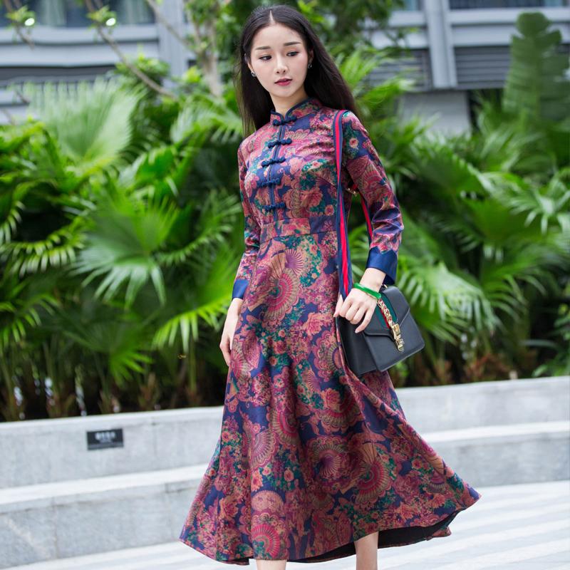 华族经典中袖真丝复古改良旗袍长款中式礼服连衣裙春季日常大码女